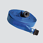 "1"" x 100' Blue Standard-Duty PVC Layflat Discharge Hose Assembly — Poly Coupling"