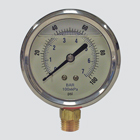 "2-1/2"" 100 PSI Glycerine Filled Pressure Gauge — 1/4"" Male Pipe Thread Lower Mount"